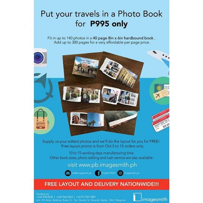 Put your #travel photos in a sleek looking coffee table book. P995 only with free layout and delivery til Oct 15 only. Order now. Contact us DM / +639178410881 / info@imagesmith.ph  #book #photography #imagesmithph