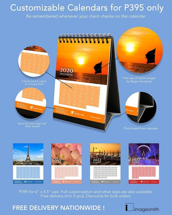 New year is near and calendars are great giveaways for your company or even as a personal gift to someone.  Starts at P395 only. Discount for bulk orders!  #imagesmithph #imagesmithpb #calendar #newyear #giftideas