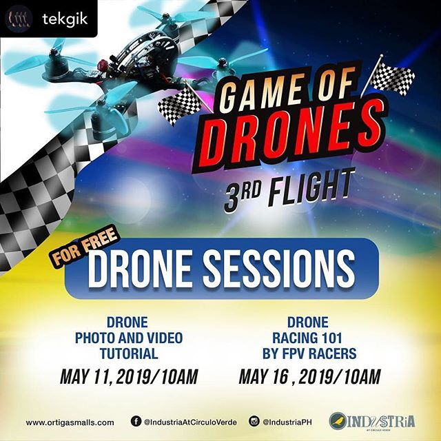Our head creative director Regie Fernando will be imparting his knowledge on how to shoot better aerial drone photos and videos on May 11, 10am at Industria Mall, Circulo Verde. Its FREE register now at the Game of Drones FB page. ___ Posted @withrepost • @tekgik I'll be having a short talk on how to shoot better aerial drone photos and videos on May 11 at 10am at Industria Mall in Circulo Verde, QC. This is a pre-event of the Game of Drones 3rd Flight event on May 25. . . #OnCPiPho #PiPho14 #tekgik #imagesmithph #gameofdrones #aerial #drone #aerialdrone
