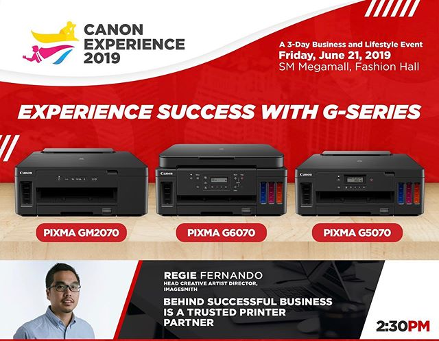 Imagesmith's Director will have a talk tomorrow at the Canon Experience 2019 event in SM Megamall at 2:30pm. Listen to his stories on how the PIXMA printers helped us in our business.